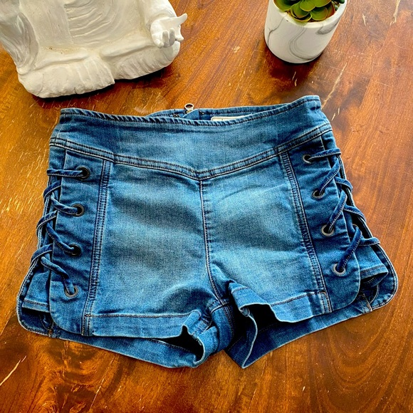 Free People Denim Flat Front Lace-Up Shorts